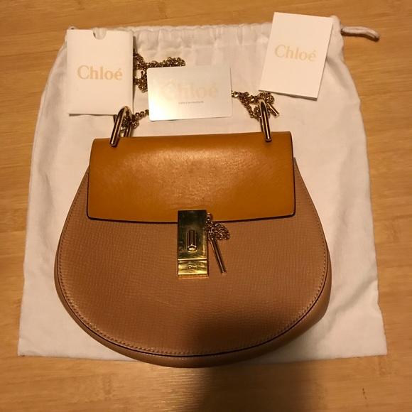c77ee0a409 Chloe Handbags - Chloe Drew size small two tone mustard/beige